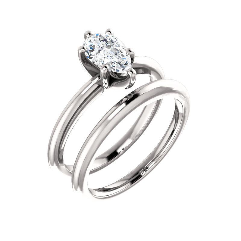 The Four Prongs Pear Moissanite Engagement Ring Solitaire Setting White Gold With Matching Band