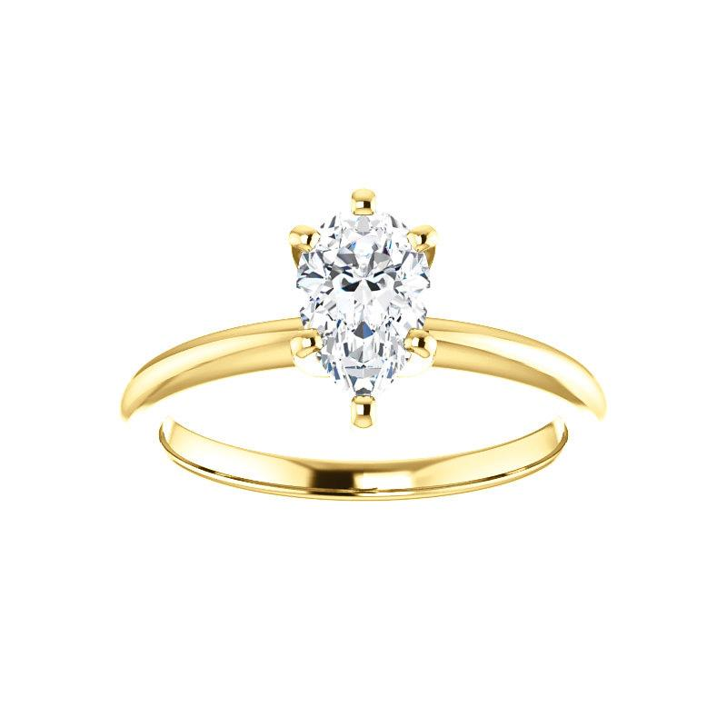 The Four Prongs Pear Moissanite Engagement Ring Solitaire Setting Yellow Gold