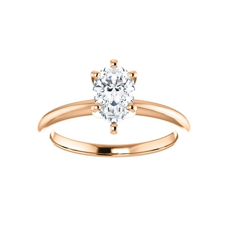 The Four Prongs Pear Moissanite Engagement Ring Solitaire Setting Rose Gold