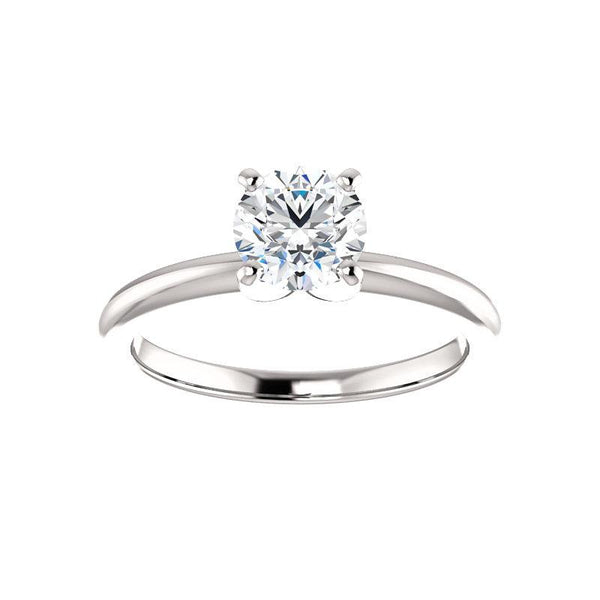 The Four Prongs Round Moissanite Engagement Ring Solitaire Setting White Gold