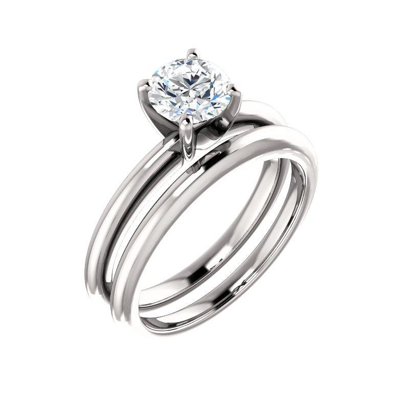 The Four Prongs Round Moissanite Engagement Ring Solitaire Setting White Gold With Matching Band