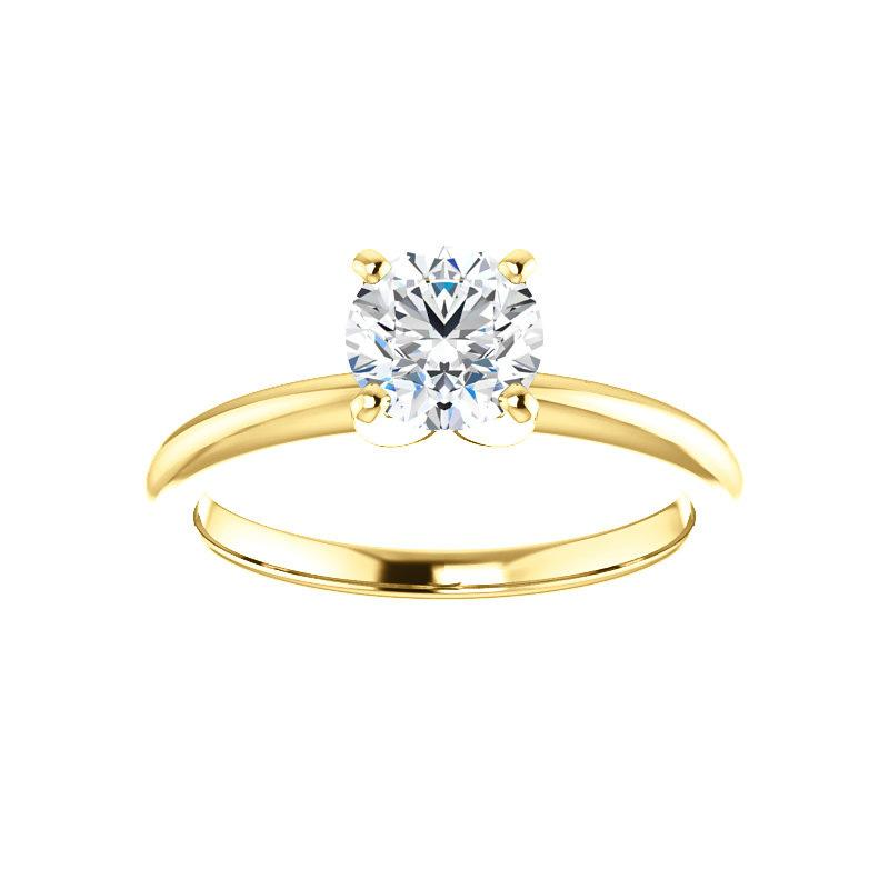 The Four Prongs Round Moissanite Engagement Ring Solitaire Setting Yellow Gold