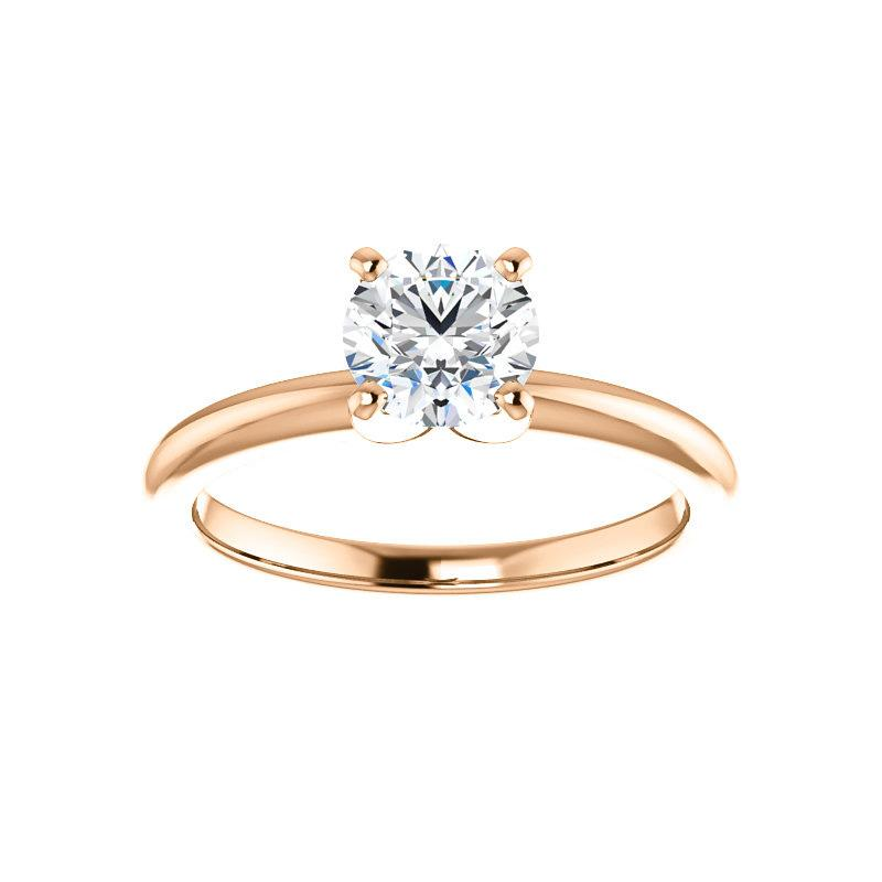 The Four Prongs Round Moissanite Engagement Ring Solitaire Setting Rose Gold