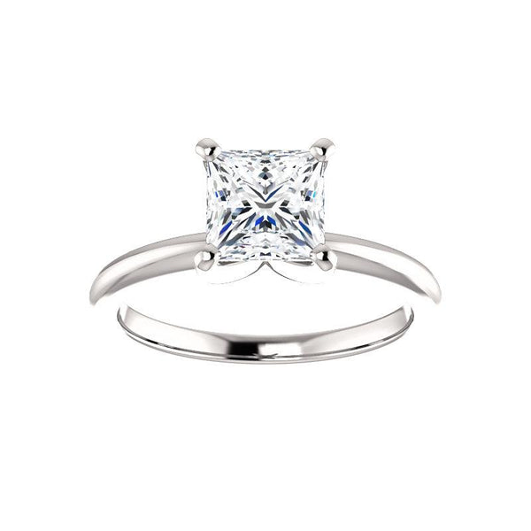 The Four Prongs Princess Moissanite Engagement Ring Solitaire Setting White Gold