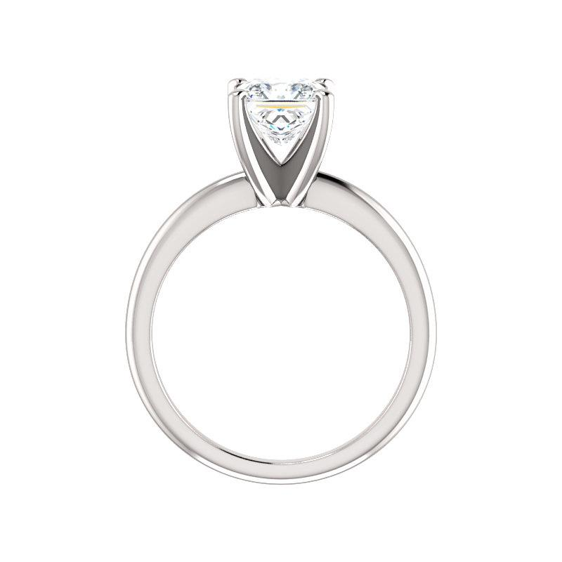 The Four Prongs Princess Moissanite Engagement Ring Solitaire Setting White Gold Side Profile