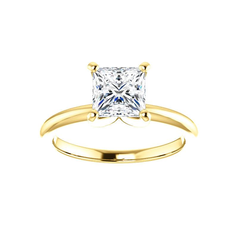 The Four Prongs Princess Moissanite Engagement Ring Solitaire Setting Yellow Gold