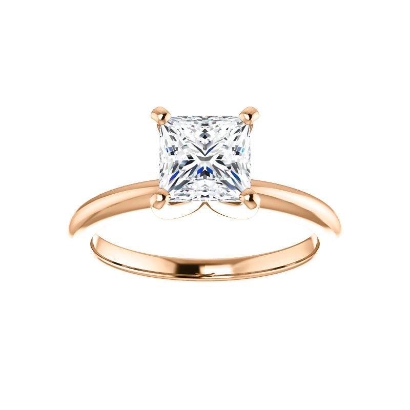 The Four Prongs Princess Moissanite Engagement Ring Solitaire Setting Rose Gold
