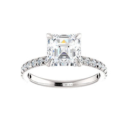 The Kathe II Moissanite asscher moissanite engagement ring solitaire setting white gold