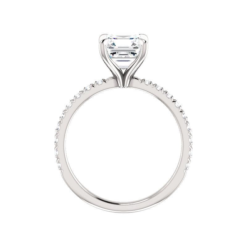 The Kathe II Moissanite asscher moissanite engagement ring solitaire setting white gold side profile