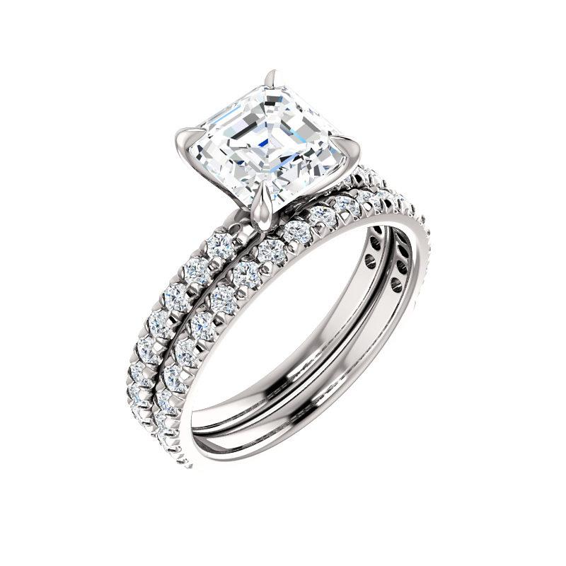 The Kathe II Moissanite asscher moissanite engagement ring solitaire setting white gold with matching band
