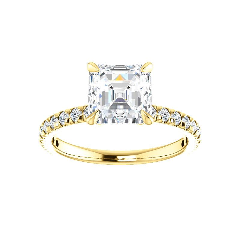 The Kathe II Moissanite asscher moissanite engagement ring solitaire setting yellow gold