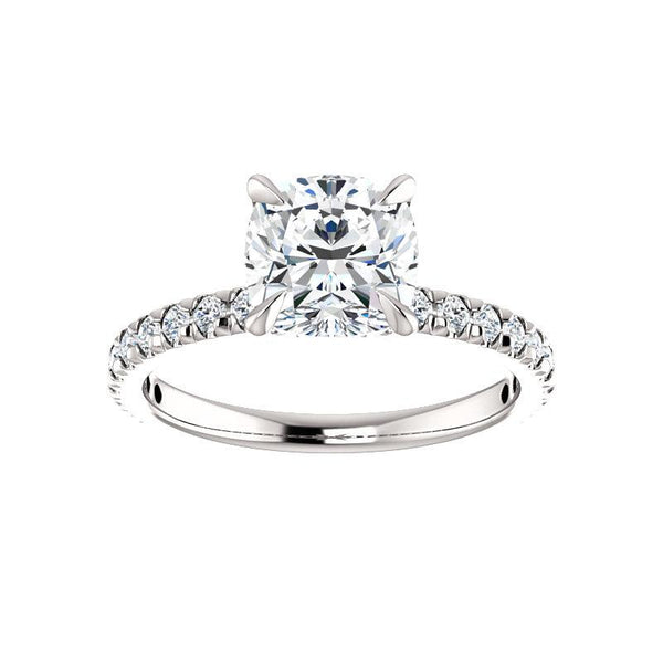 The Kathe II Moissanite cushion moissanite engagement ring solitaire setting white gold