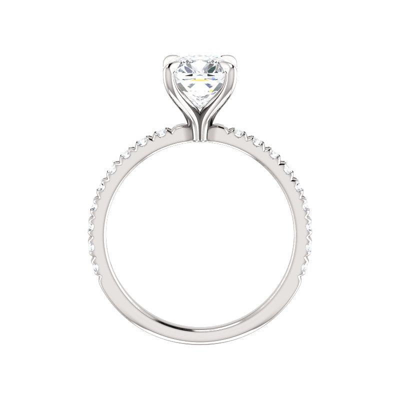 The Kathe II Moissanite cushion moissanite engagement ring solitaire setting white gold side profile