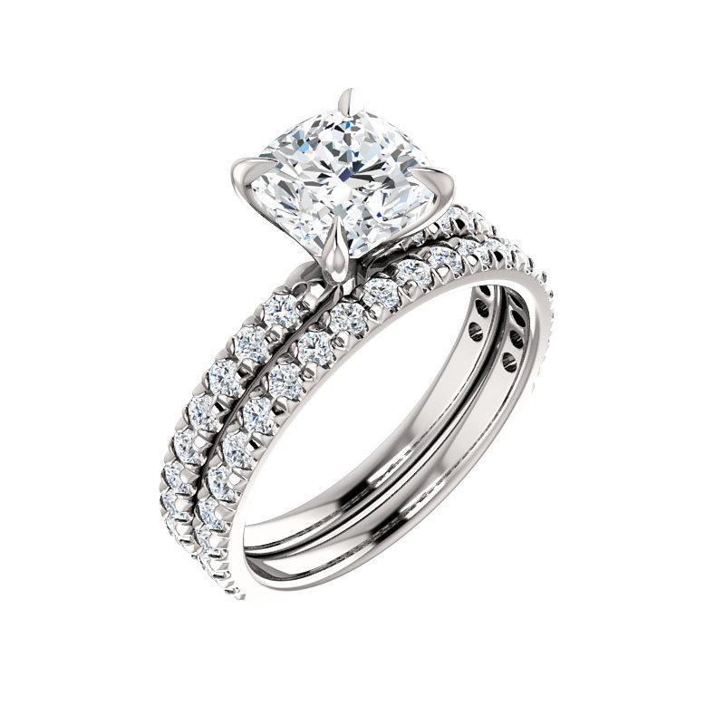 The Kathe II Moissanite cushion moissanite engagement ring solitaire setting white gold with matching band