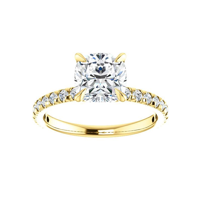 The Kathe II Moissanite cushion moissanite engagement ring solitaire setting yellow gold