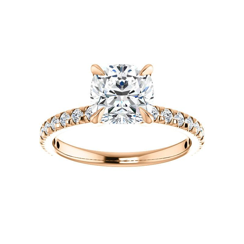 The Kathe II Moissanite cushion moissanite engagement ring solitaire setting rose gold