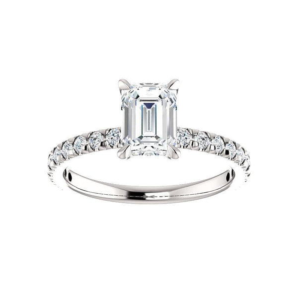 The Kathe II Moissanite emerald moissanite engagement ring solitaire setting white gold