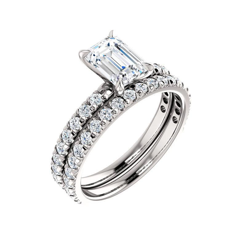 The Kathe II Moissanite radiant moissanite engagement ring solitaire setting white gold with matching band