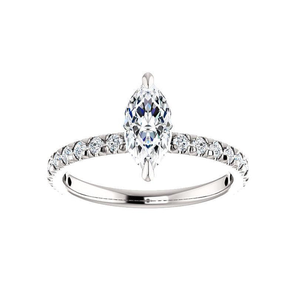 The Kathe II Moissanite marquise moissanite engagement ring solitaire setting white gold
