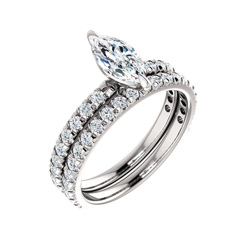 The Kathe II Moissanite marquise moissanite engagement ring solitaire setting white gold with matching band