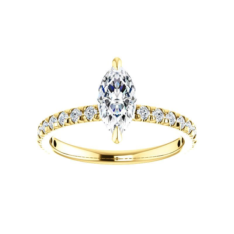 The Kathe II Moissanite marquise moissanite engagement ring solitaire setting yellow gold