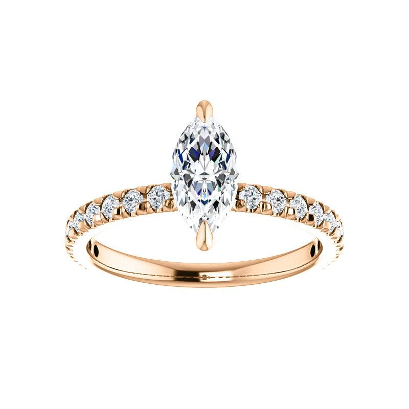 The Kathe II Moissanite marquise moissanite engagement ring solitaire setting rose gold