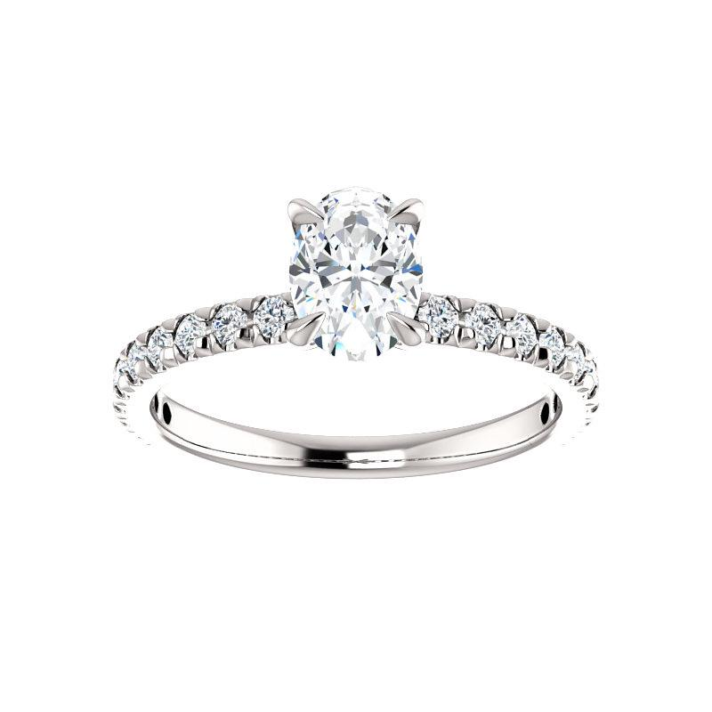 The Kathe II Moissanite oval moissanite engagement ring solitaire setting white gold