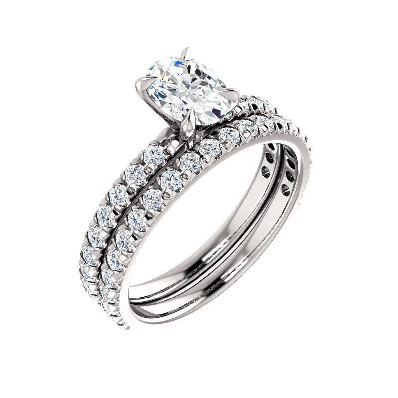 The Kathe II Moissanite oval moissanite engagement ring solitaire setting white gold with matching band