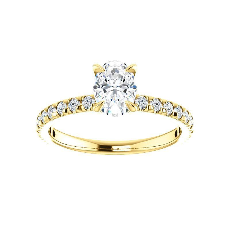 The Kathe II Moissanite oval moissanite engagement ring solitaire setting yellow gold