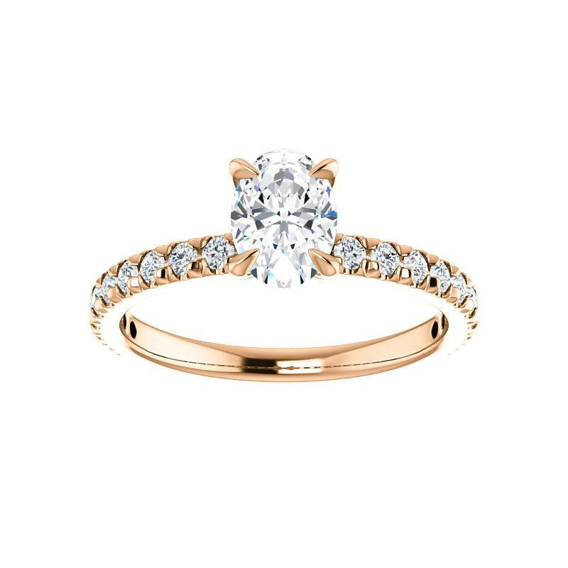 The Kathe II Moissanite oval moissanite engagement ring solitaire setting rose gold