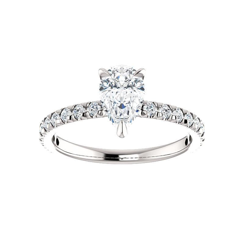 The Kathe II Moissanite pear moissanite engagement ring solitaire setting white gold