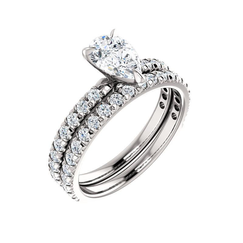The Kathe II Moissanite pear moissanite engagement ring solitaire setting white gold with matching band