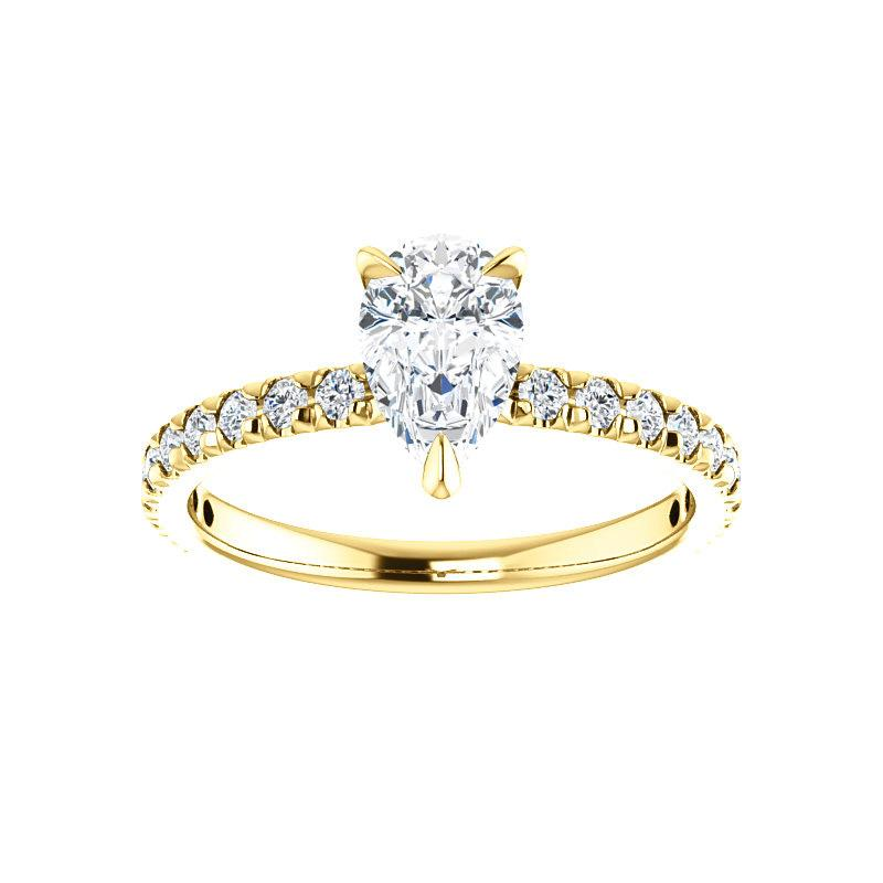 The Kathe II Moissanite pear moissanite engagement ring solitaire setting yellow gold