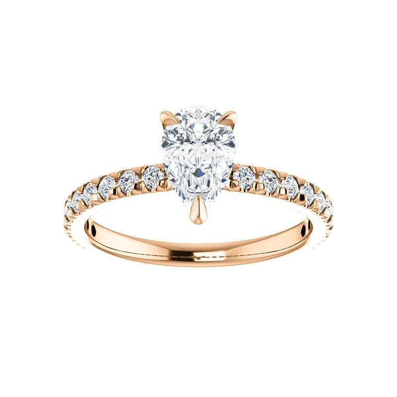 The Kathe II Moissanite pear moissanite engagement ring solitaire setting rose gold