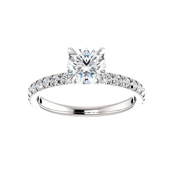 The Kathe II Moissanite round moissanite engagement ring solitaire setting white gold