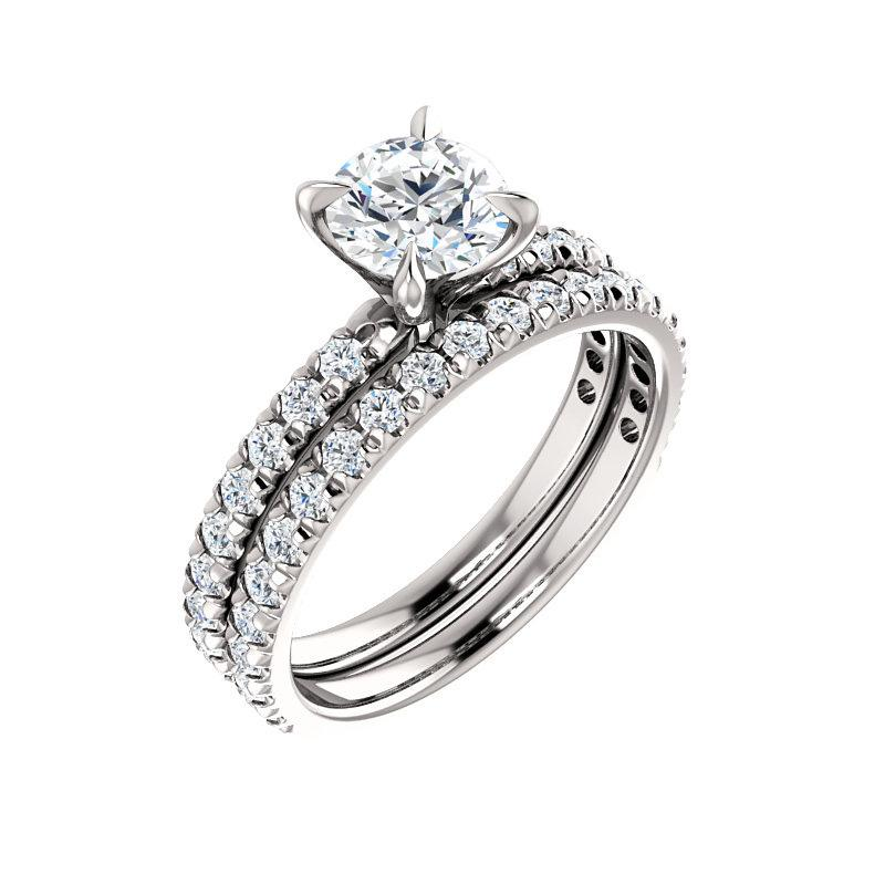 The Kathe II Moissanite round moissanite engagement ring solitaire setting white gold with matching band