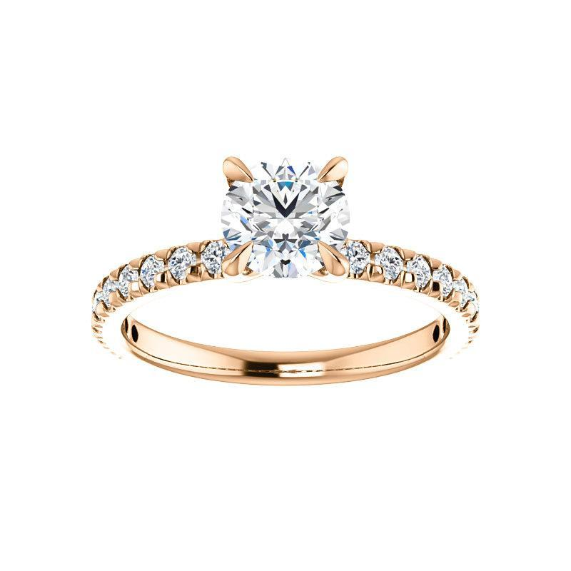 The Kathe II Moissanite round moissanite engagement ring solitaire setting rose gold