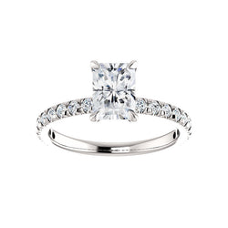 The Kathe II Moissanite radiant moissanite engagement ring solitaire setting white gold
