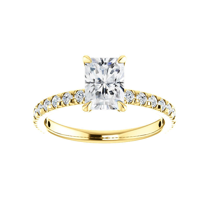 The Kathe II Moissanite radiant moissanite engagement ring solitaire setting yellow gold