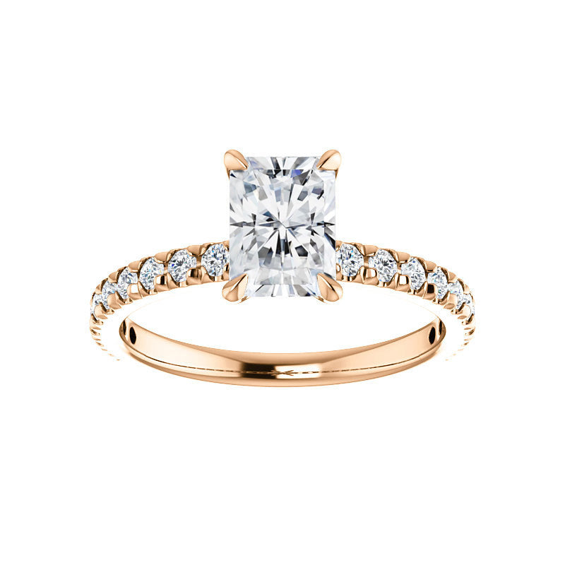 The Kathe II Moissanite radiant moissanite engagement ring solitaire setting rose gold
