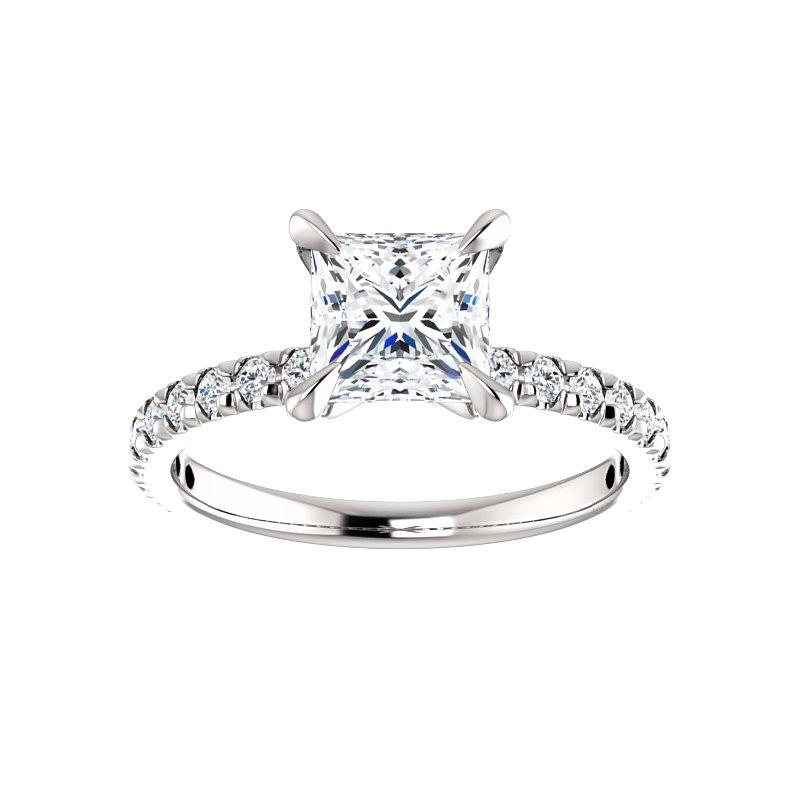 The Kathe II Moissanite princess moissanite engagement ring solitaire setting white gold