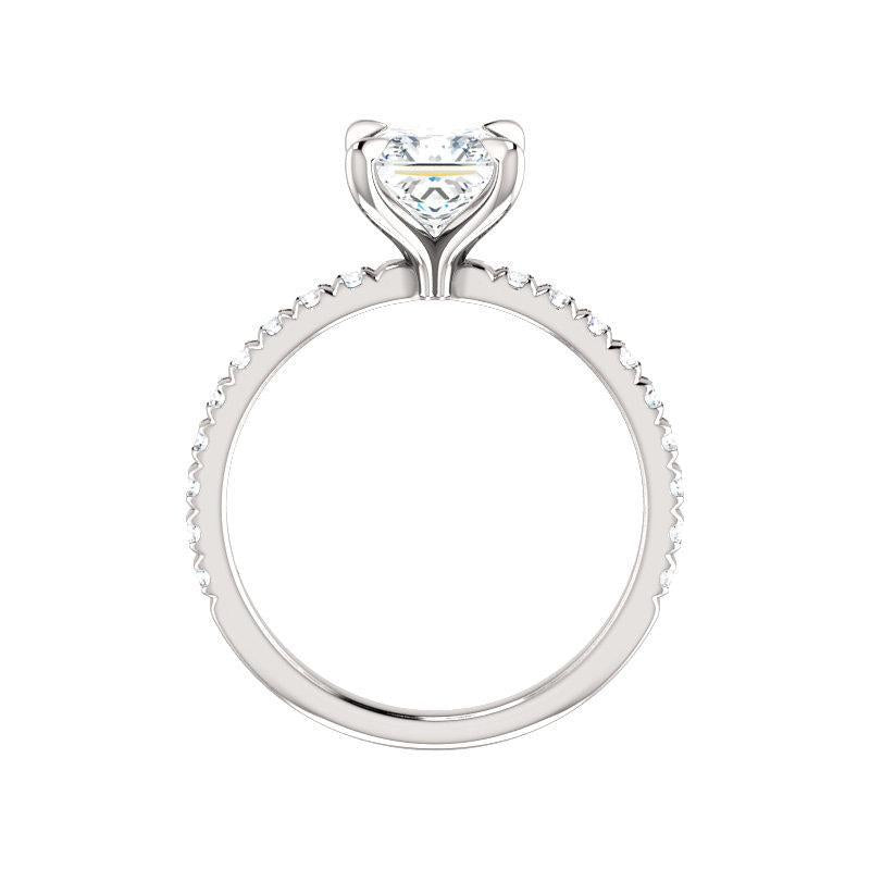 The Kathe II Moissanite princess moissanite engagement ring solitaire setting white gold side profile