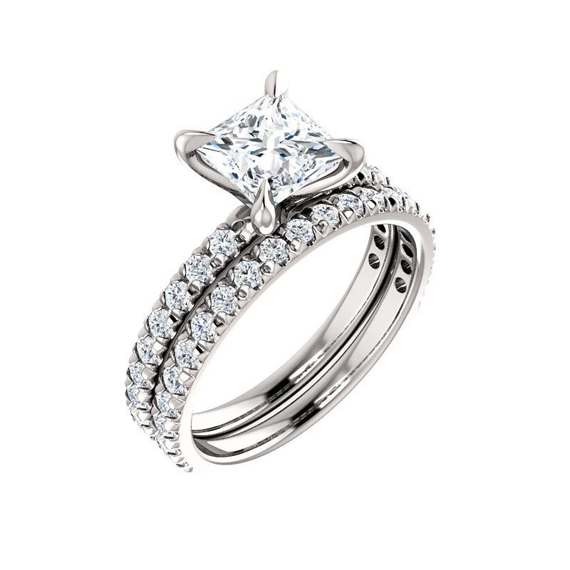 The Kathe II Moissanite princess moissanite engagement ring solitaire setting white gold with matching band