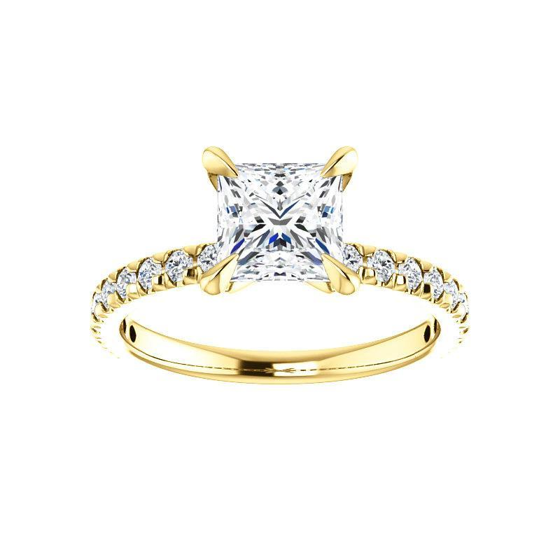 The Kathe II Moissanite princess moissanite engagement ring solitaire setting yellow gold