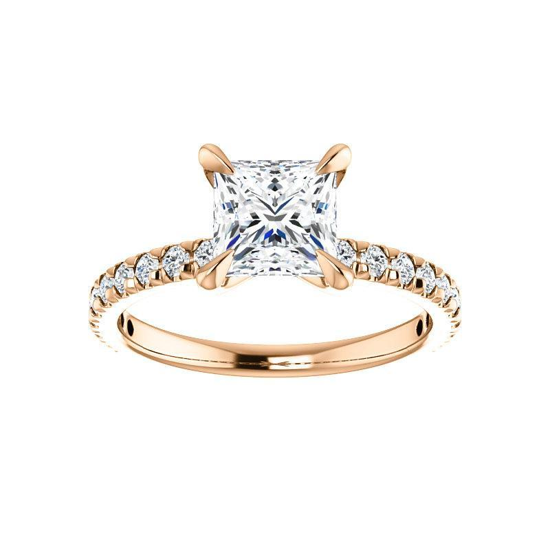 The Kathe II Moissanite princess moissanite engagement ring solitaire setting rose gold