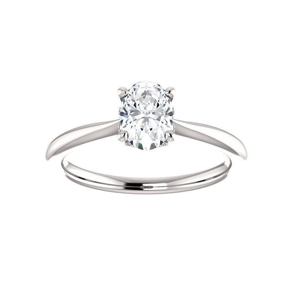 The Kelsea Oval Moissanite Engagement Ring Rope Solitaire Setting White Gold