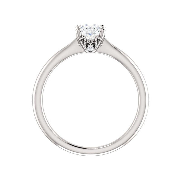 The Kelsea Oval Moissanite Engagement Ring Rope Solitaire Setting White Gold Side Profile