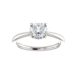 The Kelsea Round Moissanite Engagement Ring Rope Solitaire Setting White Gold