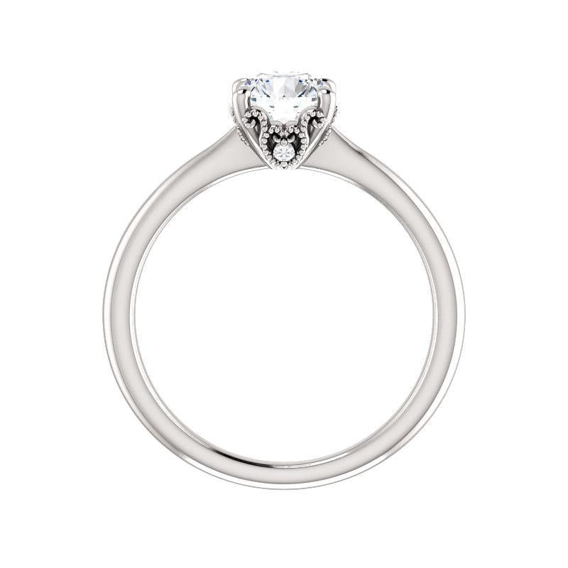 The Kelsea Round Moissanite Engagement Ring Rope Solitaire Setting White Gold Side Profile