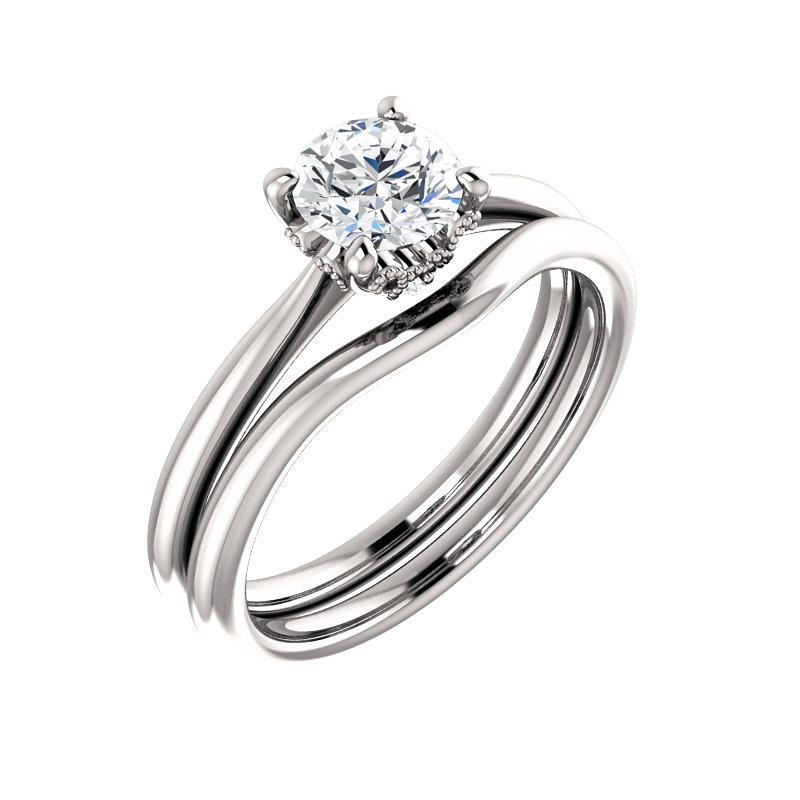 The Kelsea Round Moissanite Engagement Ring Rope Solitaire Setting White Gold With Matching Band